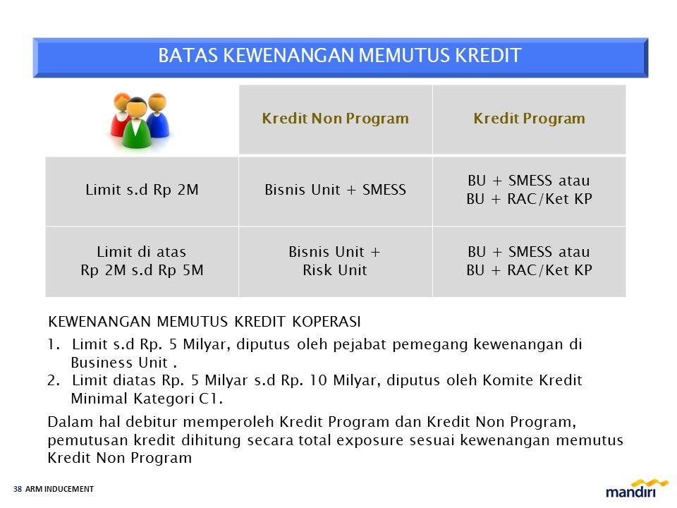 ARM INDUCEMENT 37 Proses pemutusan kredit diatas Rp.5 milyar s.d Rp. 10 milyar Credit rating minimal B diputus oleh Komite Kredit kategori C1, sedangk