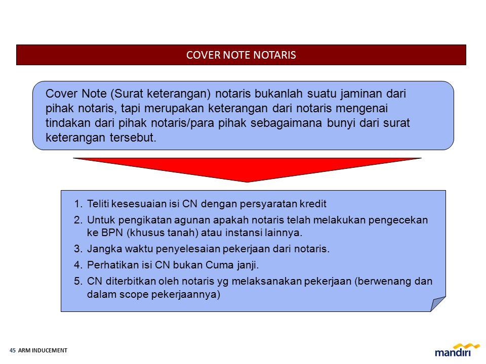 ARM INDUCEMENT 44 AKTIVASI REKENING PINJAMAN Aktivasi rekening pinjaman dapat dilakukan apabila setelah seluruh dokumentasi Perjanjian Kredit, pengika