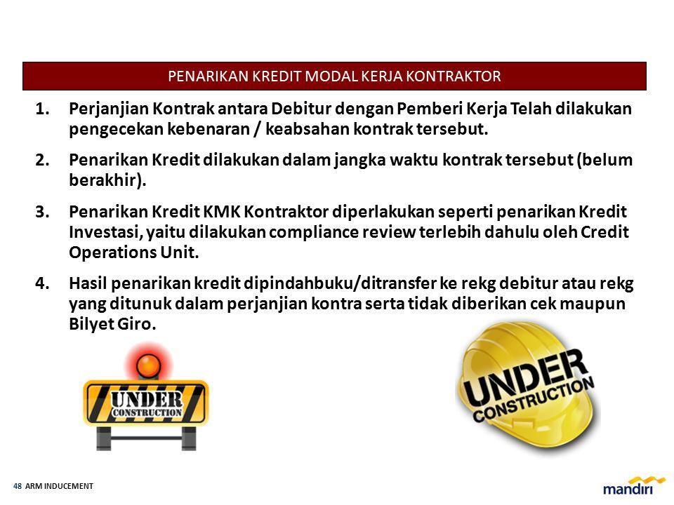 ARM INDUCEMENT 47 1.Harus memperhatikan syarat- syarat penarikan kredit yang telah disetujui oleh Komite Kredit. 2.Didasarkan pada Surat Permohonan Pe