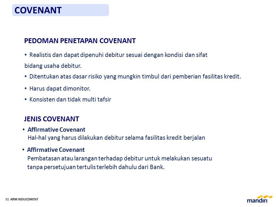 ARM INDUCEMENT 50 COVENANT Covenant Merupakan syarat-syarat kredit yang ditentukan Bank dan disetujui debitur dalam perjanjian kredit untuk melakukan