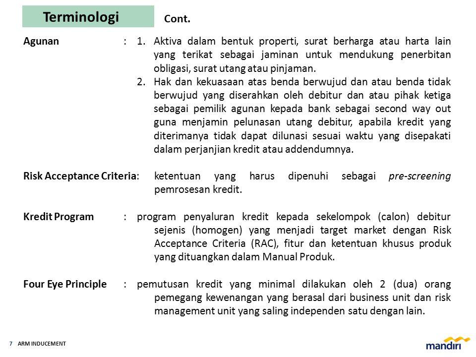 ARM INDUCEMENT 6 Terminologi Cash Loan: fasilitas kredit yang diberikan dalam bentuk tunai atau dengan pemindahbukuan dan secara Non Cash Loan:fasilit