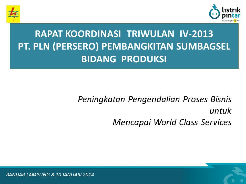 Peningkatan Pengendalian Proses Bisnis untuk Mencapai World Class Services RAPAT KOORDINASI TRIWULAN IV-2013 PT. PLN (PERSERO) PEMBANGKITAN SUMBAGSEL