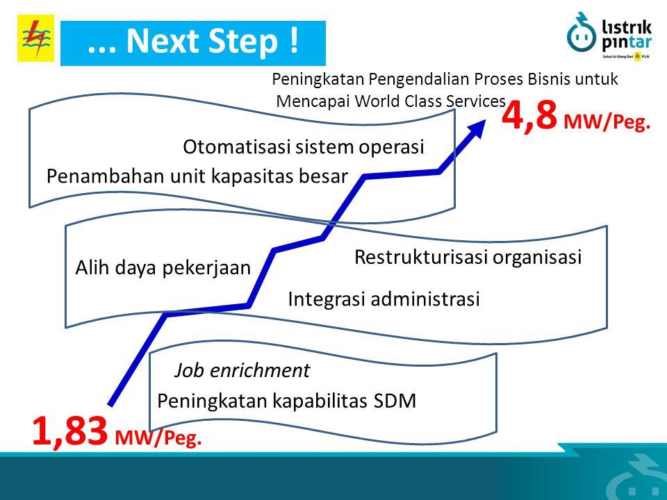 1,83 MW/Peg. 4,8 MW/Peg. Otomatisasi sistem operasi Alih daya pekerjaan Job enrichment Integrasi administrasi Penambahan unit kapasitas besar Restrukt