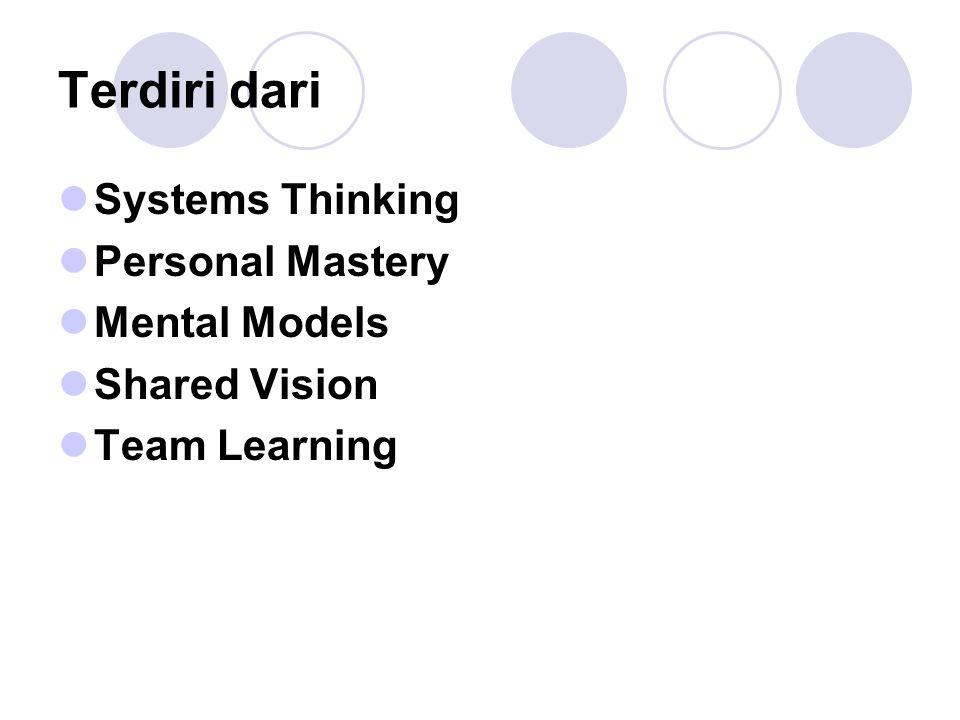 Tujuan Tujuan dari penerapan fifth discipline adalah untuk menjelaskan konsep dari learning organization dan mendorong perubahan/transformasi ke arah learning organization