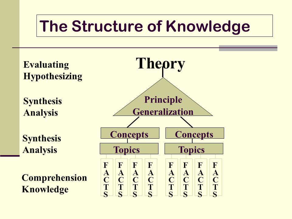 The Structure of Knowledge Evaluating Hypothesizing Synthesis Analysis Comprehension Knowledge FACTSFACTS FACTSFACTS FACTSFACTS FACTSFACTS Topics Conc