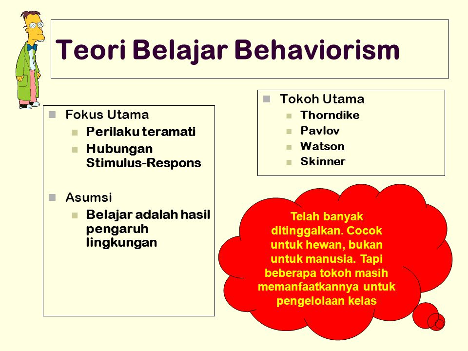 Teori Belajar Behaviorism Fokus Utama Perilaku teramati Hubungan Stimulus-Respons Asumsi Belajar adalah hasil pengaruh lingkungan Tokoh Utama Thorndik