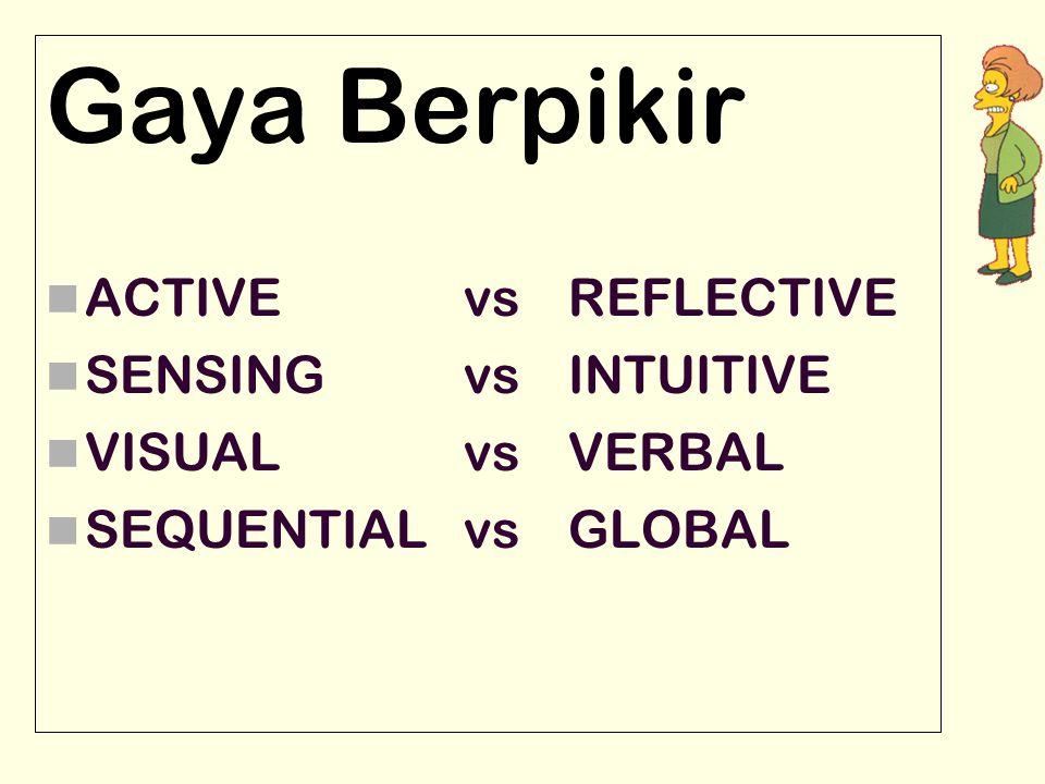Gaya Berpikir ACTIVE vs REFLECTIVE SENSING vsINTUITIVE VISUAL vs VERBAL SEQUENTIAL vs GLOBAL