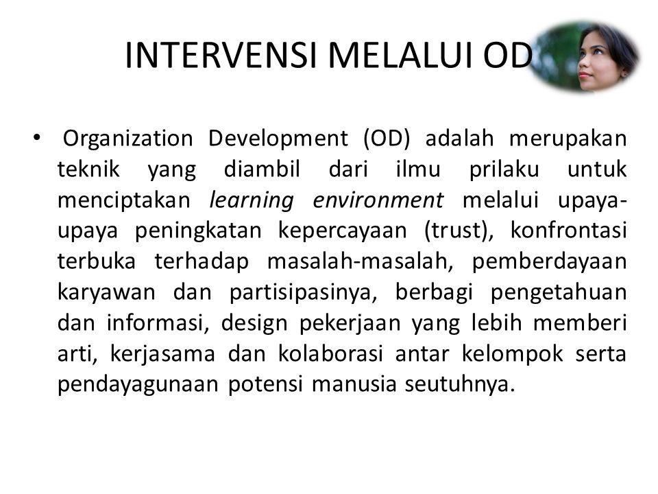 INTERVENSI MELALUI OD Organization Development (OD) adalah merupakan teknik yang diambil dari ilmu prilaku untuk menciptakan learning environment mela