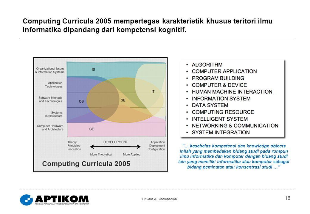 "Private & Confidential 16 Computing Curricula 2005 mempertegas karakteristik khusus teritori ilmu informatika dipandang dari kompetensi kognitif. ""… k"