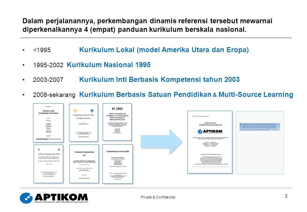 Private & Confidential <1995 Kurikulum Lokal (model Amerika Utara dan Eropa) 1995-2002 Kurikulum Nasional 1995 2003-2007 Kurikulum Inti Berbasis Kompe