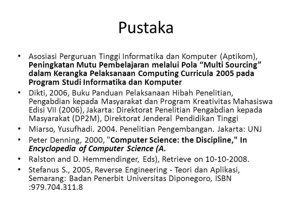 Pustaka Asosiasi Perguruan Tinggi Informatika dan Komputer (Aptikom), Peningkatan Mutu Pembelajaran melalui Pola Multi Sourcing dalam Kerangka Pelaksanaan Computing Curricula 2005 pada Program Studi Informatika dan Komputer Dikti, 2006, Buku Panduan Pelaksanaan Hibah Penelitian, Pengabdian kepada Masyarakat dan Program Kreativitas Mahasiswa Edisi VII (2006), Jakarta: Direktorat Penelitian Pengabdian kepada Masyarakat (DP2M), Direktorat Jenderal Pendidikan Tinggi Miarso, Yusufhadi.
