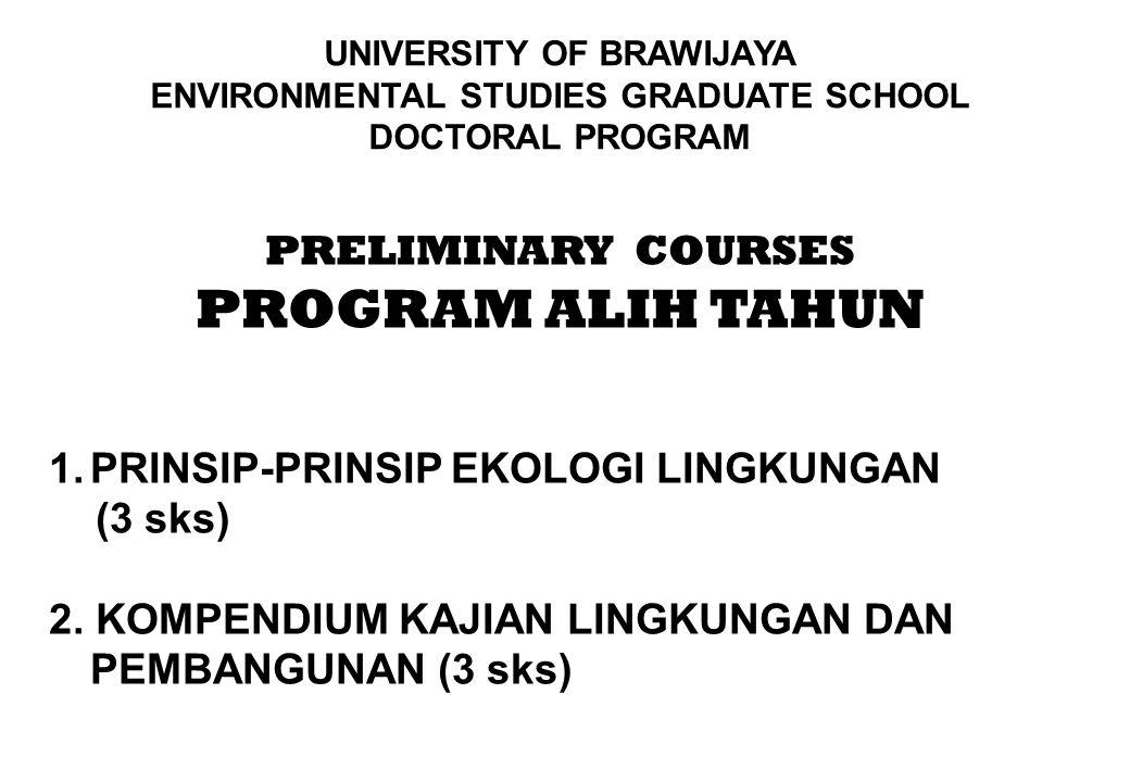 PRELIMINARY COURSES PROGRAM ALIH TAHUN 1.PRINSIP-PRINSIP EKOLOGI LINGKUNGAN (3 sks) 2. KOMPENDIUM KAJIAN LINGKUNGAN DAN PEMBANGUNAN (3 sks) UNIVERSITY