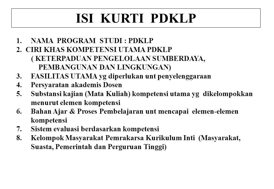 1.NAMA PROGRAM STUDI : PDKLP 2. CIRI KHAS KOMPETENSI UTAMA PDKLP ( KETERPADUAN PENGELOLAAN SUMBERDAYA, PEMBANGUNAN DAN LINGKUNGAN) 3.FASILITAS UTAMA y