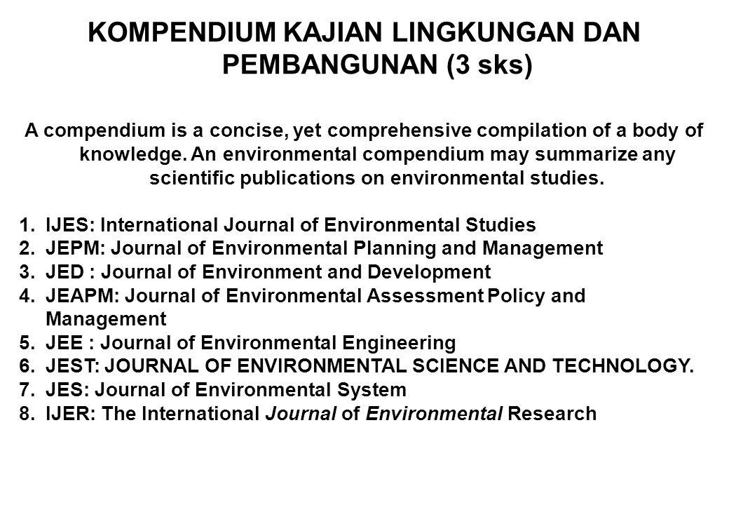 UNIVERSITY OF BRAWIJAYA ENVIRONMENTAL STUDIES GRADUATE SCHOOL DOCTORAL PROGRAM Common Core Courses All students are required to complete 9 credits of a common core focused on science, policy and philosophy: 1.IPTEK, PEMBANGUNAN DAN LINGKUNGAN (3) 2.FILOSOFI LINGKUNGAN HIDUP (3 sks) 3.