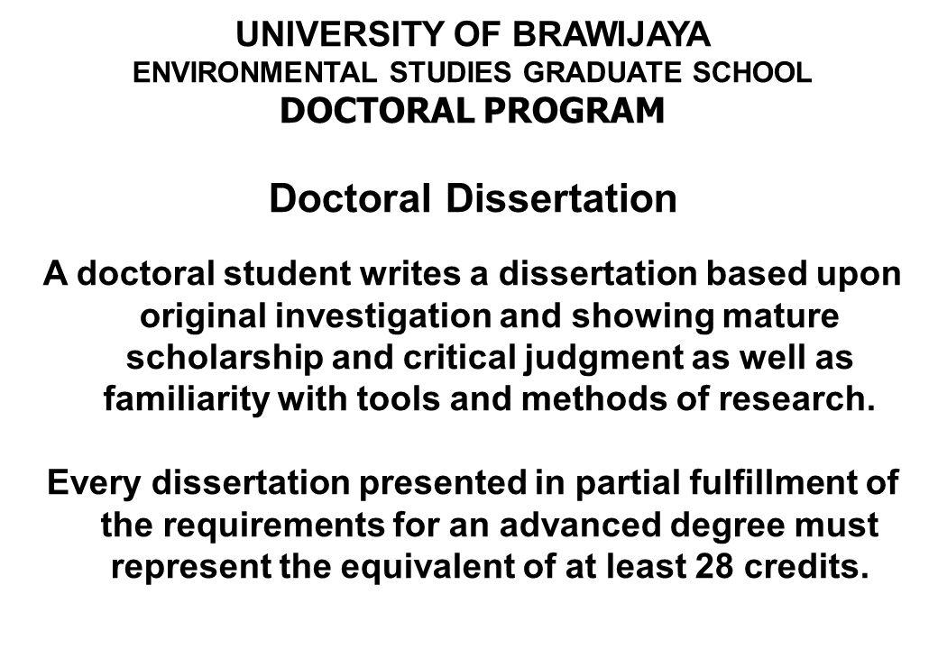 UNIVERSITY OF BRAWIJAYA ENVIRONMENTAL STUDIES GRADUATE SCHOOL DOCTORAL PROGRAM Credit hours 1.