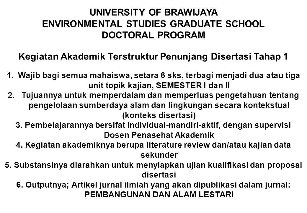 UNIVERSITY OF BRAWIJAYA ENVIRONMENTAL STUDIES GRADUATE SCHOOL DOCTORAL PROGRAM Kegiatan Akademik Terstruktur Penunjang Disertasi Tahap 1 1.Wajib bagi