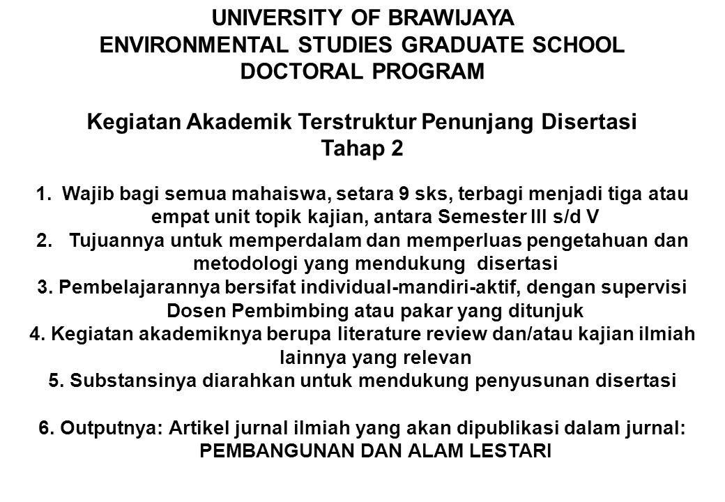UNIVERSITY OF BRAWIJAYA ENVIRONMENTAL STUDIES GRADUATE SCHOOL DOCTORAL PROGRAM Kegiatan Akademik Terstruktur Penunjang Disertasi Tahap 2 1.Wajib bagi
