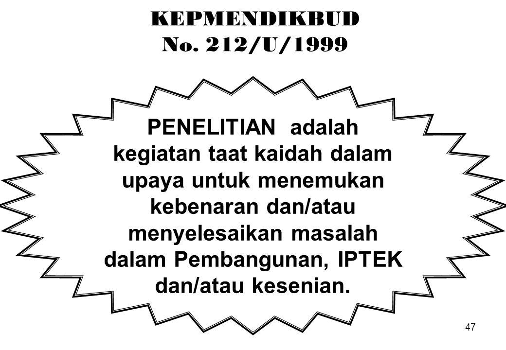 47 KEPMENDIKBUD No. 212/U/1999 PENELITIAN adalah kegiatan taat kaidah dalam upaya untuk menemukan kebenaran dan/atau menyelesaikan masalah dalam Pemba