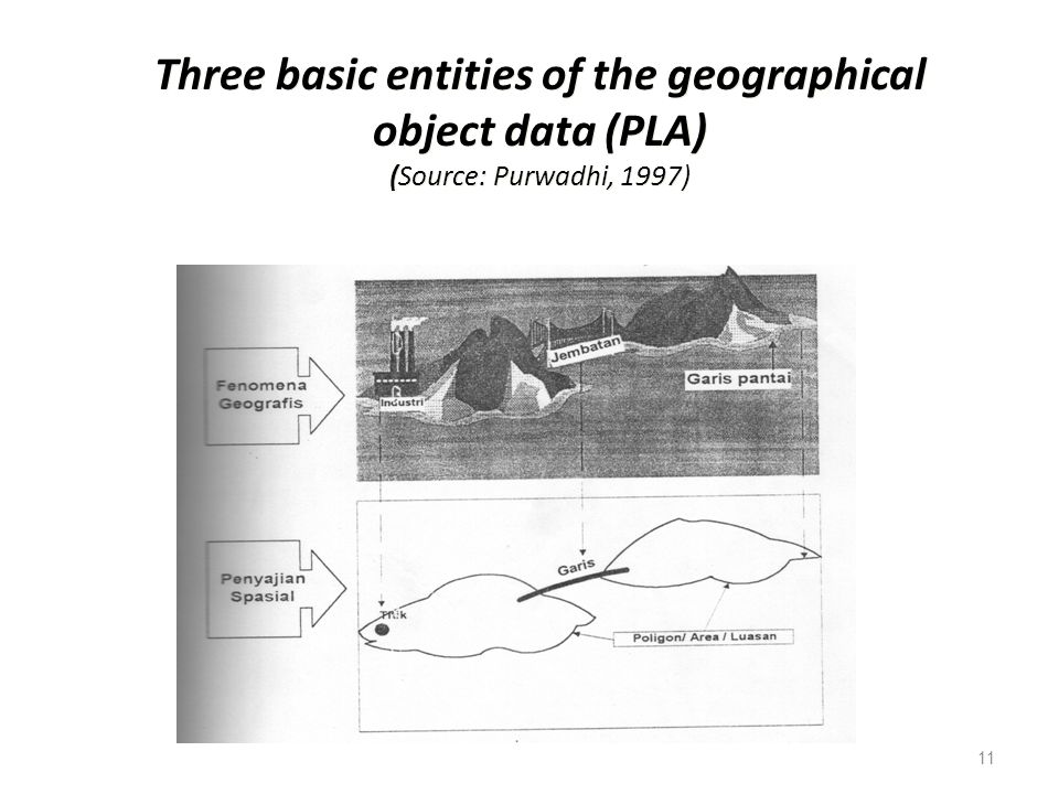 11 Three basic entities of the geographical object data (PLA) (Source: Purwadhi, 1997)