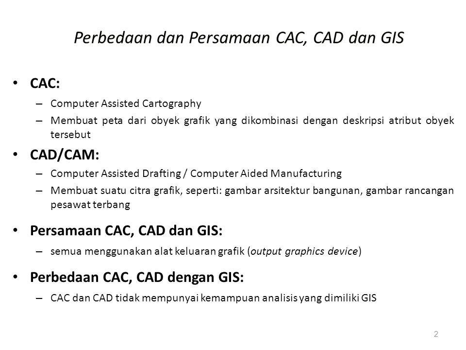 2 Perbedaan dan Persamaan CAC, CAD dan GIS CAC: – Computer Assisted Cartography – Membuat peta dari obyek grafik yang dikombinasi dengan deskripsi atr