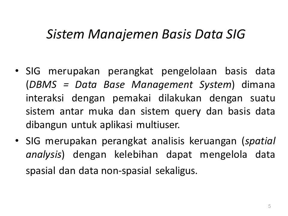 5 Sistem Manajemen Basis Data SIG SIG merupakan perangkat pengelolaan basis data (DBMS = Data Base Management System) dimana interaksi dengan pemakai