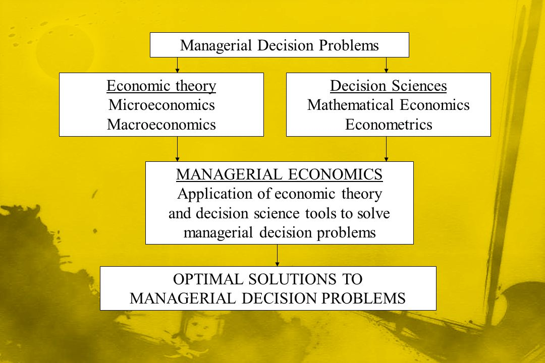 Managerial Decision Problems Economic theory Microeconomics Macroeconomics Decision Sciences Mathematical Economics Econometrics MANAGERIAL ECONOMICS