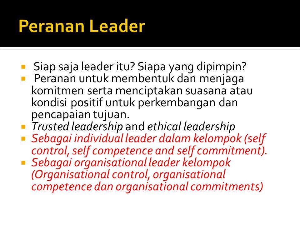  Siap saja leader itu? Siapa yang dipimpin?  Peranan untuk membentuk dan menjaga komitmen serta menciptakan suasana atau kondisi positif untuk perke