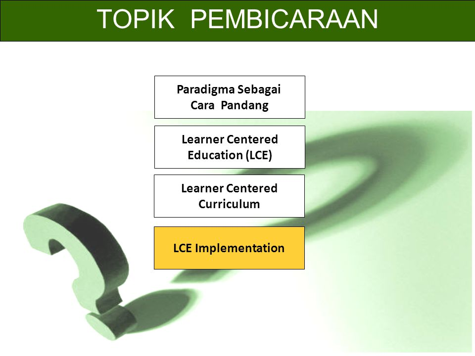 TOPIK PEMBICARAAN Paradigma Sebagai Cara Pandang Learner Centered Education (LCE) Learner Centered Curriculum LCE Implementation