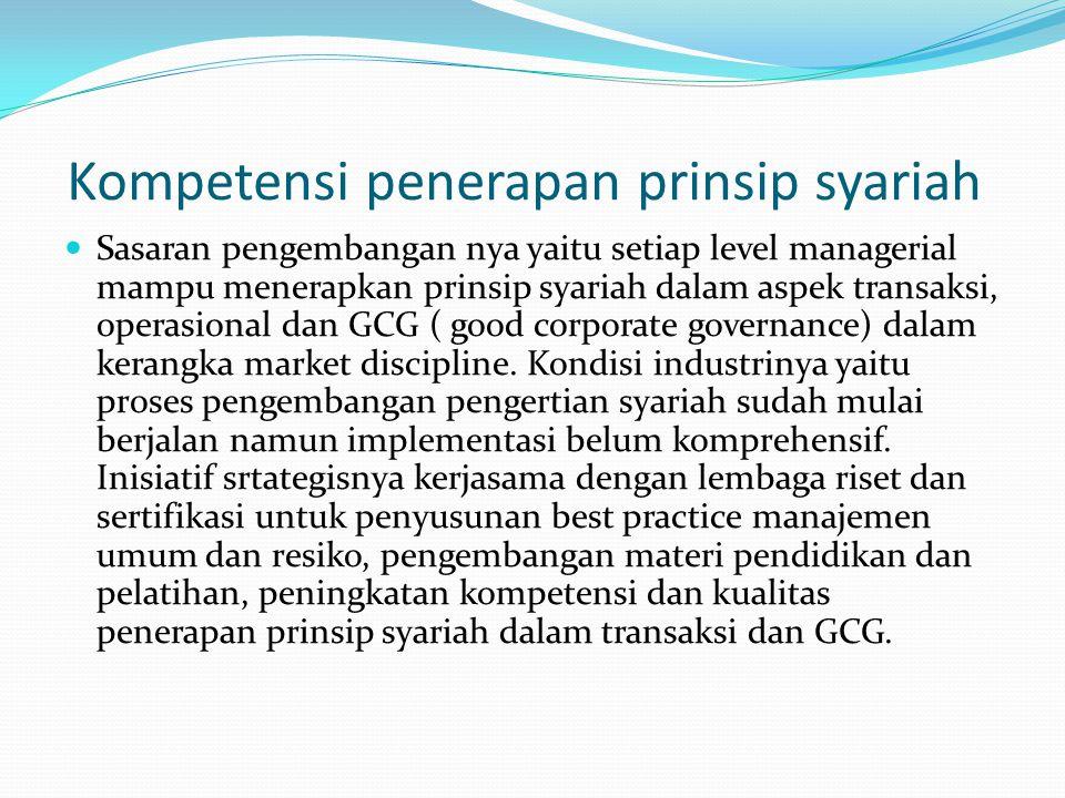 Kompetensi penerapan prinsip syariah Sasaran pengembangan nya yaitu setiap level managerial mampu menerapkan prinsip syariah dalam aspek transaksi, operasional dan GCG ( good corporate governance) dalam kerangka market discipline.