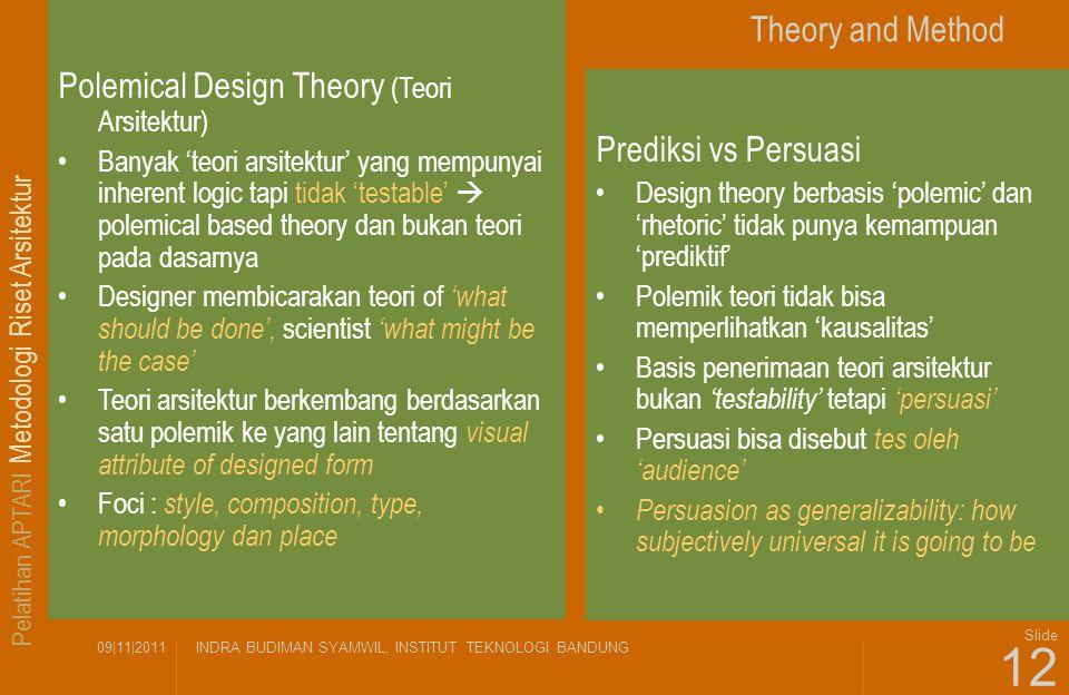 Pelatihan APTARI Metodologi Riset Arsitektur 09|11|2011INDRA BUDIMAN SYAMWIL, INSTITUT TEKNOLOGI BANDUNG Slide 12 Theory and Method Polemical Design T