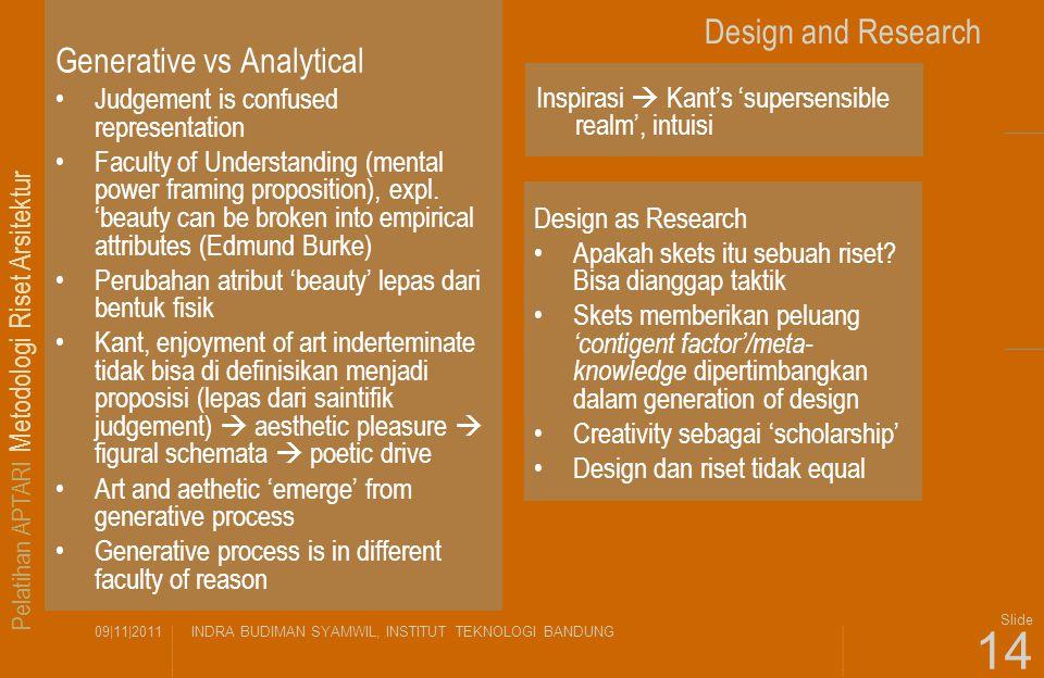 Pelatihan APTARI Metodologi Riset Arsitektur 09|11|2011INDRA BUDIMAN SYAMWIL, INSTITUT TEKNOLOGI BANDUNG Slide 14 Design and Research Generative vs An