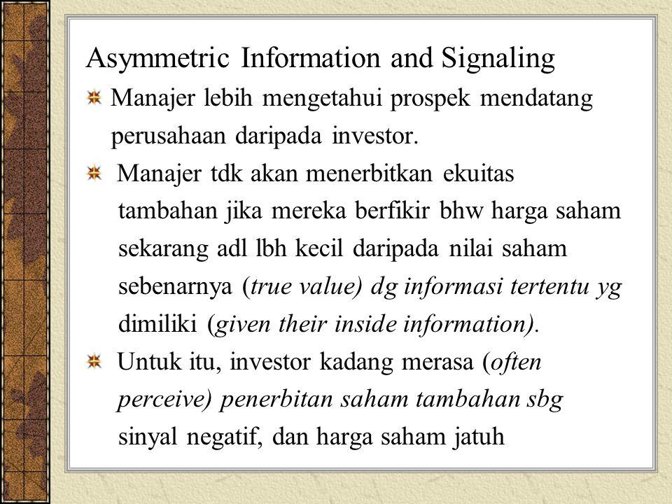 Asymmetric Information and Signaling Manajer lebih mengetahui prospek mendatang perusahaan daripada investor. Manajer tdk akan menerbitkan ekuitas tam