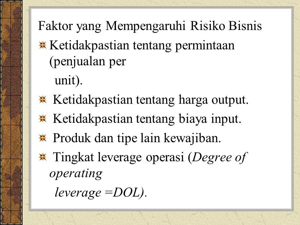 Faktor yang Mempengaruhi Risiko Bisnis Ketidakpastian tentang permintaan (penjualan per unit). Ketidakpastian tentang harga output. Ketidakpastian ten
