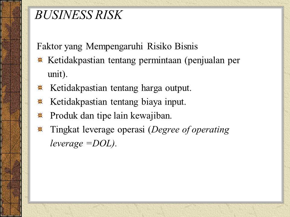BUSINESS RISK Faktor yang Mempengaruhi Risiko Bisnis Ketidakpastian tentang permintaan (penjualan per unit). Ketidakpastian tentang harga output. Keti