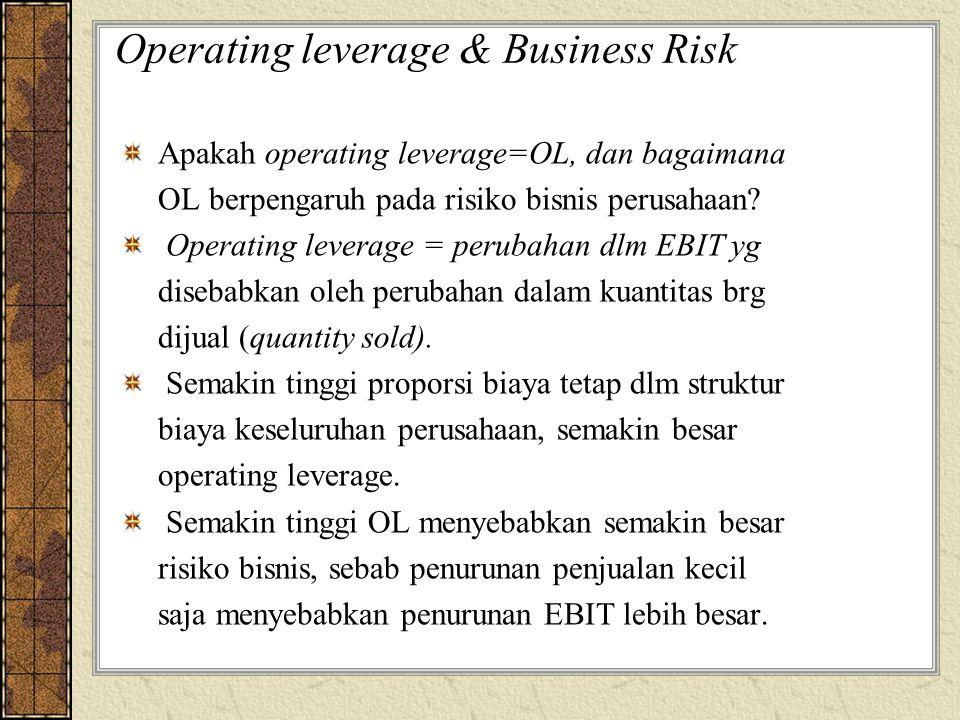 Operating leverage & Business Risk Apakah operating leverage=OL, dan bagaimana OL berpengaruh pada risiko bisnis perusahaan? Operating leverage = peru