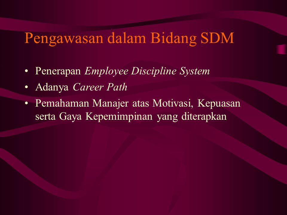 Pengawasan dalam Bidang SDM Penerapan Employee Discipline System Adanya Career Path Pemahaman Manajer atas Motivasi, Kepuasan serta Gaya Kepemimpinan yang diterapkan