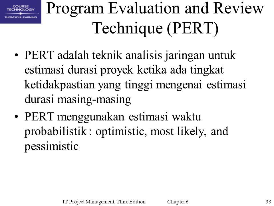 33IT Project Management, Third Edition Chapter 6 Program Evaluation and Review Technique (PERT) PERT adalah teknik analisis jaringan untuk estimasi du