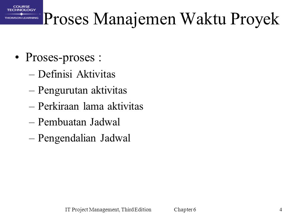 25IT Project Management, Third Edition Chapter 6 Techniques for Shortening a Project Schedule Shorten durations of critical tasks by adding more resources or changing their scope Crashing tasks by obtaining the greatest amount of schedule compression for the least incremental cost Fast tracking tasks by doing them in parallel or overlapping them
