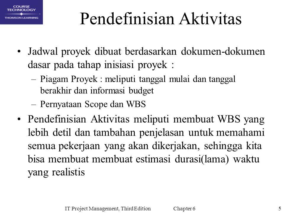 5IT Project Management, Third Edition Chapter 6 Pendefinisian Aktivitas Jadwal proyek dibuat berdasarkan dokumen-dokumen dasar pada tahap inisiasi pro