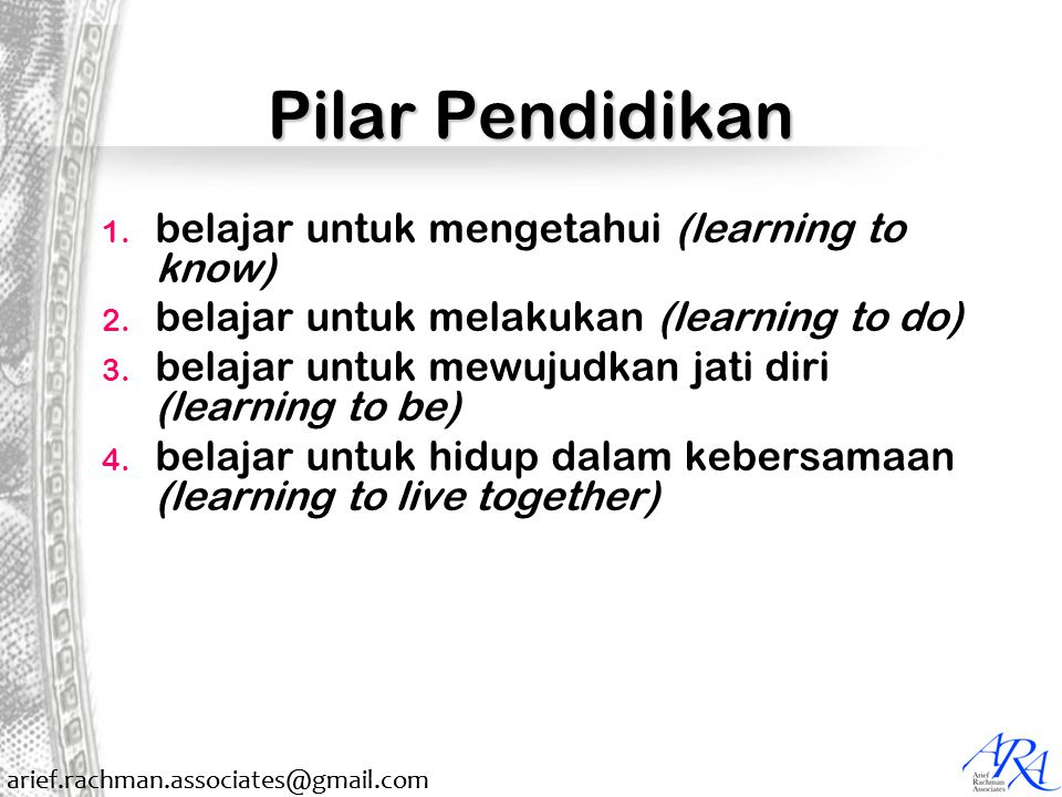 arief.rachman.associates@gmail.com Pilar Pendidikan 1. belajar untuk mengetahui (learning to know) 2. belajar untuk melakukan (learning to do) 3. bela