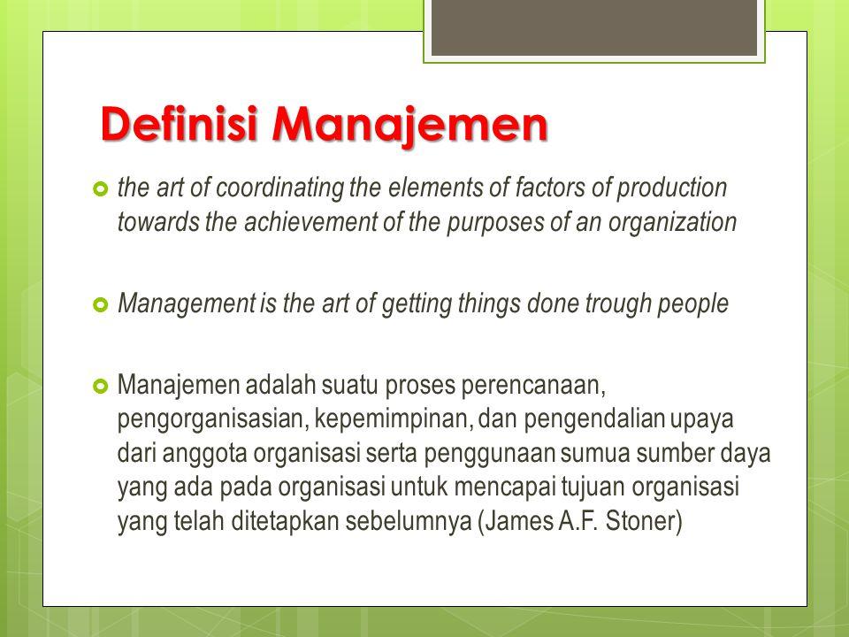 MANAJEMEN ADALAH :  Berorientasi pada aktivitas-aktivitas  Sebuah sistem otoritas dan perintah Kepuasan pekerja dicapai dari pelaksanaan pekerjaan menurut petunjuk- petunjuk