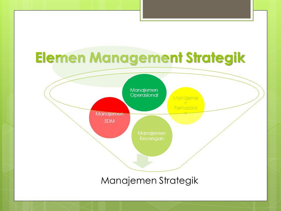 Manajeme n Pemasara n Elemen Management Strategik Manajemen Strategik Manajemen Keuangan Manajemen SDM Manajemen Operasional