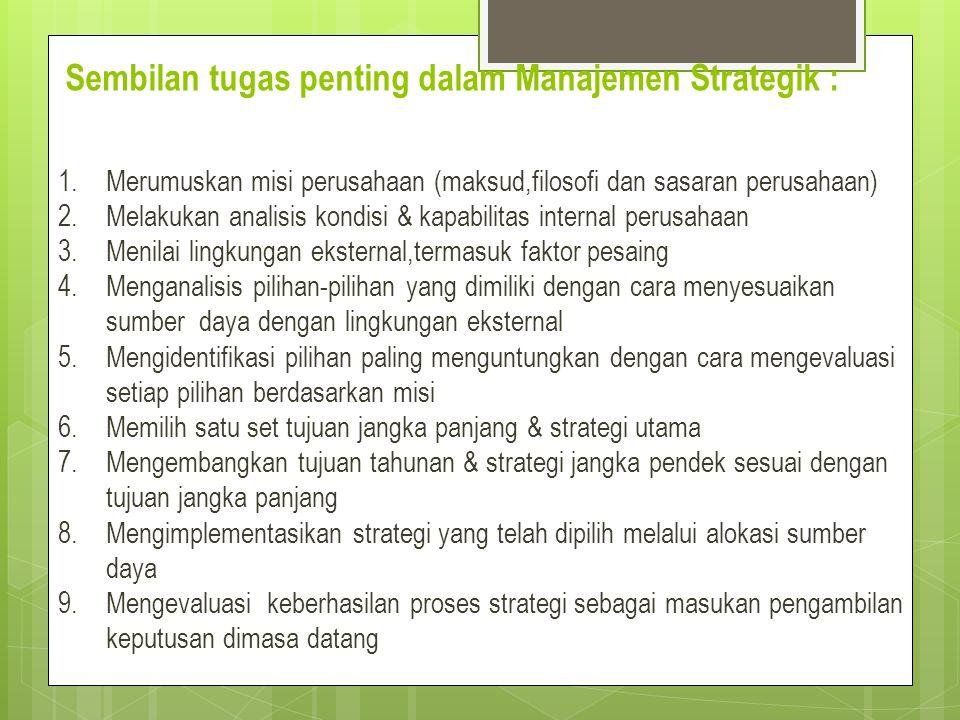 Sembilan tugas penting dalam Manajemen Strategik : 1.Merumuskan misi perusahaan (maksud,filosofi dan sasaran perusahaan) 2.Melakukan analisis kondisi