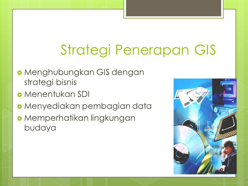 Strategi Penerapan GIS  Menghubungkan GIS dengan strategi bisnis  Menentukan SDI  Menyediakan pembagian data  Memperhatikan lingkungan budaya