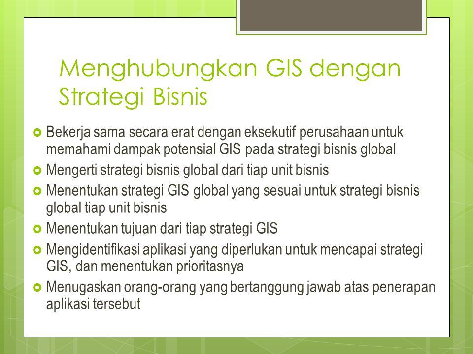 Menghubungkan GIS dengan Strategi Bisnis  Bekerja sama secara erat dengan eksekutif perusahaan untuk memahami dampak potensial GIS pada strategi bisn