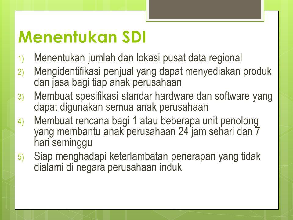 Menentukan SDI 1) Menentukan jumlah dan lokasi pusat data regional 2) Mengidentifikasi penjual yang dapat menyediakan produk dan jasa bagi tiap anak p