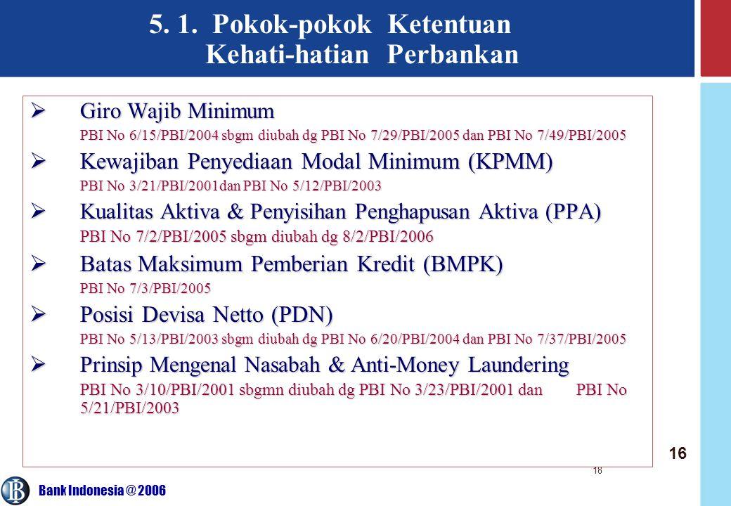 Bank Indonesia @ 2006 18 5. 1. Pokok-pokok Ketentuan Kehati-hatian Perbankan  Giro Wajib Minimum PBI No 6/15/PBI/2004 sbgm diubah dg PBI No 7/29/PBI/