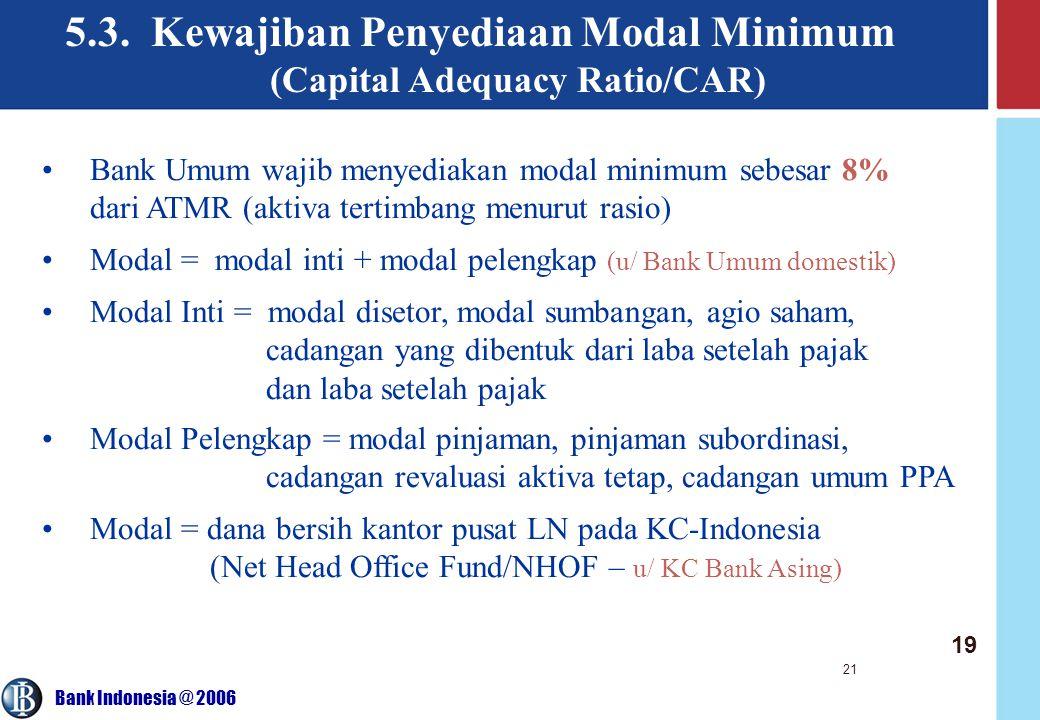 Bank Indonesia @ 2006 21 5.3. Kewajiban Penyediaan Modal Minimum (Capital Adequacy Ratio/CAR) Bank Umum wajib menyediakan modal minimum sebesar 8% dar