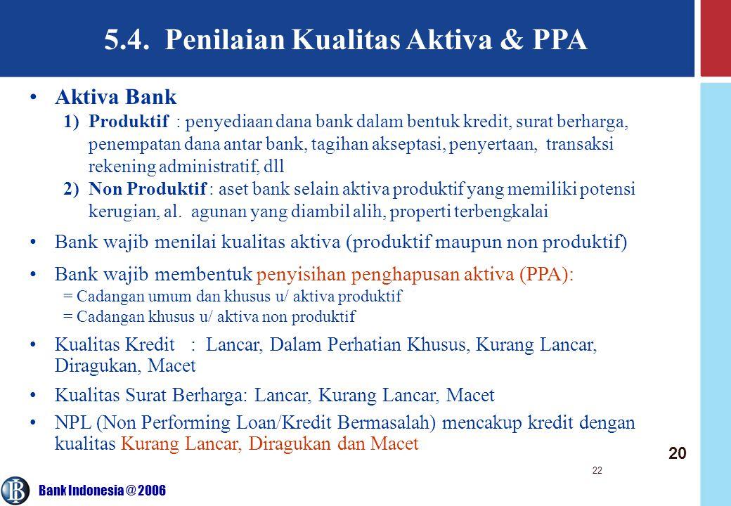 Bank Indonesia @ 2006 22 5.4. Penilaian Kualitas Aktiva & PPA Aktiva Bank 1)Produktif : penyediaan dana bank dalam bentuk kredit, surat berharga, pene