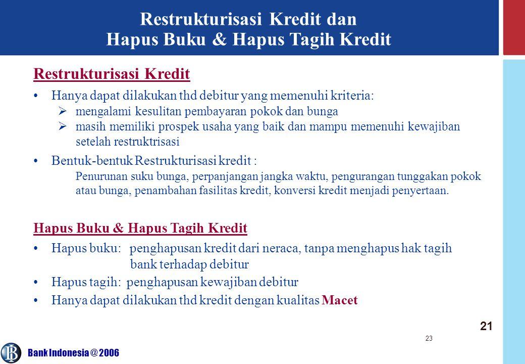 Bank Indonesia @ 2006 23 Restrukturisasi Kredit dan Hapus Buku & Hapus Tagih Kredit Restrukturisasi Kredit Hanya dapat dilakukan thd debitur yang meme
